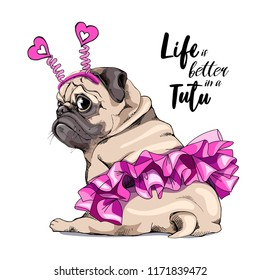 Adorable beige puppy Pug in a pink ballet tutu and in a hearts headband. Humor card, t-shirt composition, hand drawn style print. Vector illustration.