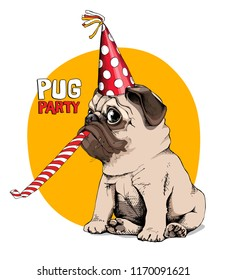Adorable beige puppy Pug in a red party cap with a whistle blowing on a yellow background. Humor card, t-shirt composition, hand drawn style print. Vector illustration.