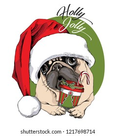 Adorable beige puppy Pug in a red Santa's cap and with a cup of coffee. Holly Jolly - lettering quote. Christmas and New Year card, t-shirt composition, handmade vector illustration.