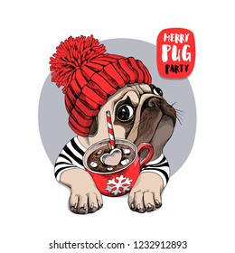 Adorable beige puppy Pug in a red knitted hat and with a cup of coffee. Merry pug party - lettering quote. Christmas and New Year card, t-shirt composition, handmade vector illustration.