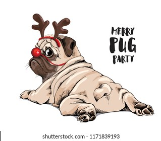 Adorable beige puppy Pug in a Santa's deer mask. Merry pug party - lettering quote. Christmas and New Year card, t-shirt composition, handmade vector illustration.