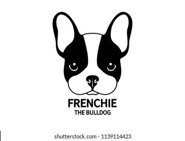Adorable Black & White  French Bulldog Face. Cute Frenchie with bunny ears in black & white logo.