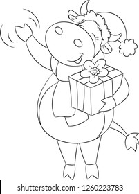 Adorable black and white illustration of a cute little cow, waving at you, dressed for Christmas, holding a gift, perfect for children's coloring book or Christmas card