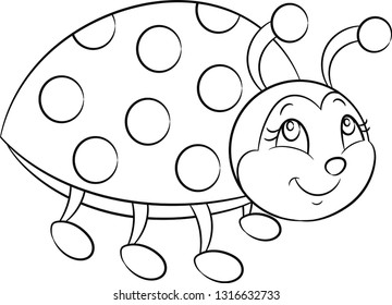 Adorable black and white kawaii illustration of a cute little ladybug, smiling, with dots and antennas, in contour, perfect for children's coloring book or coloring game