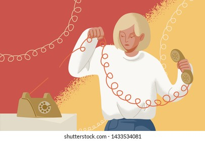 Adorable blonde woman holding telephone handset with torn wire. Concept of break up, assertiveness, disconnect, breaking of unwanted social ties, end relationship. Flat cartoon vector illustration.