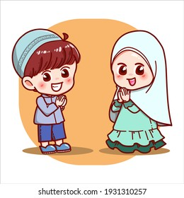 Adorable boy and girl muslim with welcoming hands Character cartoon Illustration