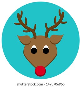 Adorable and bright vector reindeer icon. Editable with organized layers.