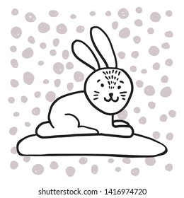 Adorable bunny in trendy Scandinavian style. Funny, cute, hugge, hand drawn illustration for poster, banner, print, decoration kids playroom or greeting card.