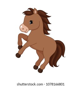 Adorable cartoon horse character. Vector illustration isolated on white background.