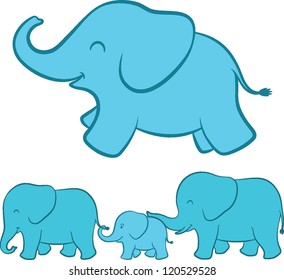 Adorable cartoon illustration of a happy playful baby blue ellie with a complete view of the whole elephant family walking in a line below touching each other with tenderness