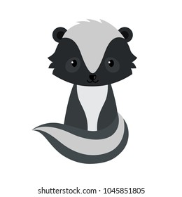 Adorable cartoon sitting skunk.