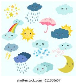 Adorable cartoon weather forecast icon set.