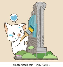 Adorable cat is painting the building model in cartoon style.