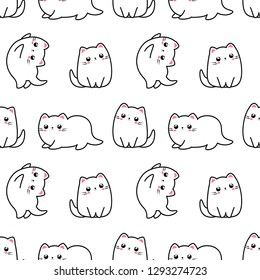 Adorable cat seamless patter, kitten character. Kawaii animals illustration. Cute cat in different poses.