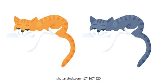 Adorable cats sleeping lying down. Purebred orange and gray tabby pet, lazy animal characters. Isolated vector illustration in cartoon flat style.