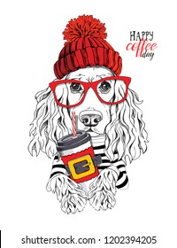 Adorable Cocker Spaniel dog in a red knitted hat, glasses and with a plastic cup. Happy coffee day - lettering quote. New Year and Christmas card, t-shirt composition, handmade vector illustration.