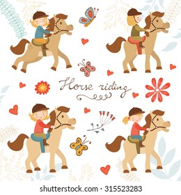 Adorable collection of cute little girls riding horses. Vector illustration