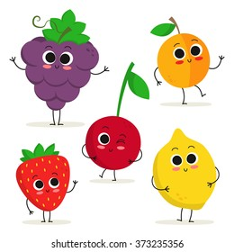 Adorable collection of five cartoon fruit characters isolated on white: grape, apricot, strawberry, cherry and lemon