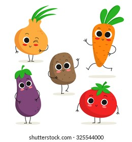 Adorable collection of five cartoon vegetable characters isolated on white: onion, eggplant, potato, carrot, tomato