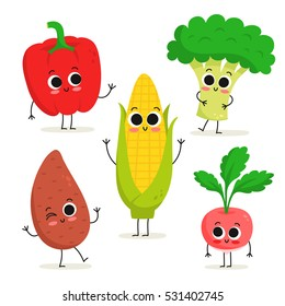Adorable collection of five cartoon vegetable characters isolated on white: bell pepper, sweet potato, corn, broccoli, radish