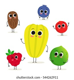 Adorable collection of six fruit and berry cartoon characters isolated on white: date, raspberry, carambola, blueberry, cranberry and lime