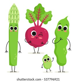 Adorable collection of three cartoon vegetable characters isolated on white: asparagus, beet and beans
