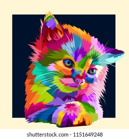 adorable colorful animal cat in style pop art