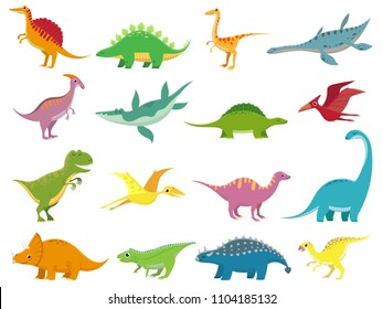 Adorable comic dinosaurs character. Cute baby stegosaurus dinosaur. Prehistoric cartoon animals of jurassic era isolated vector dino tyrannosaurus pterosaur triceratops diplodocus brachiosaurus set