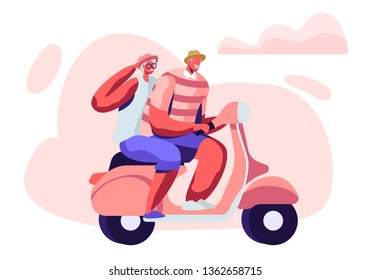 Adorable Couple of Cheerful Seniors Riding Motorbike, Man and Woman Pensioner Active Lifestyle, Aged People Extreme Activity, Senior Character Driving Fast on Scooter Cartoon Flat Vector Illustration