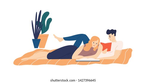 Adorable couple lying on bed and reading books. Young man and woman enjoying literature in evening. Portrait of husband and wife spending time together at home. Flat cartoon vector illustration.