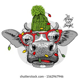 Adorable Cow in a green knitted hat, in a glasses, and with a light. Be merry and bright - lettering quote. Christmas and New year card, Humor composition, hand drawn style print. Vector illustration.