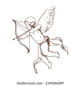 Adorable Cupid with bow aiming or shooting arrow hand drawn with contour lines on white background. Flying angel or god of romantic love and passion. Hand drawn vector illustration in vintage style.