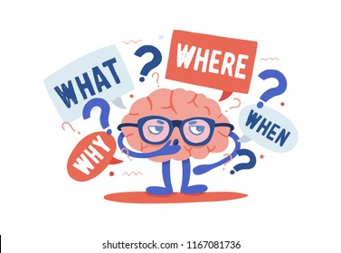Adorable curious human brain with glasses solving riddles surrounded by questions and interrogation points. Cartoon character isolated on white background. Colorful vector illustration in flat style.