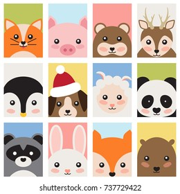 Adorable cute baby animals from forest, wild nature and domesticated isolated cartoon flat vector Illustrations on white background.