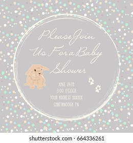 Adorable and cute Baby Shower gender neutral Invite featuring a bunny rabbit, colorful dots. Vector illustration with isolated elements on a grey background.