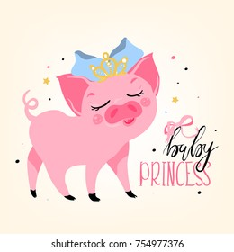 Adorable, cute, cartoon, flat bright pink piggy, pig baby princess, kids print, card. Pig in crown and bow, with closed eyes
