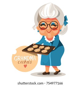Adorable, cute, cartoon, flat character grandmother, grandma,  in a blue dress and glasses with cooked, fresh baked cookies with chocolate chips