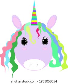Adorable cute pink fantasy animal baby unicorn cartoon character with a rainbow horn and colorful hair vector