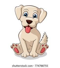Adorable Dog sitting cartoon. Vector Illustration