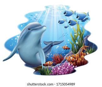 Adorable dolphin playing at coral reef underwater with sunlight shining through water, isolated on white background, 3d illustration