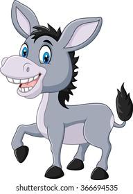 Adorable donkey isolated on white background