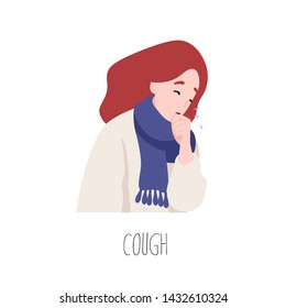 Adorable female character coughing. Symptom of influenza, health problem, viral infectious disease. Sick or ill young woman isolated on white background. Flat cartoon colorful vector illustration.