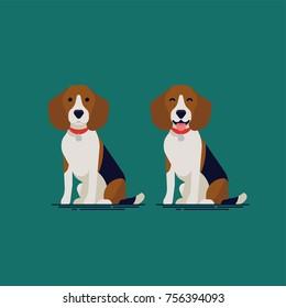 Adorable flat vector small dog character design on Beagle hound sitting with closed and open mouth, wearing red collar. Ideal for pets themed graphic and web design