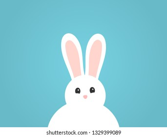 Adorable fluffy white bunny on blue background. Easter illustration.