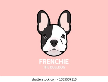 Adorable French Bulldog Face Portrait Logo. Cute Frenchie The Bulldog with bunny ears.