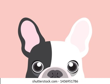 Adorable Frenchie is begging you to feed her. Cute french bulldog is hungry looking at you below the table. This artwork can use for design templates such as cute paper card, mug, bag, T-shirt, etc.