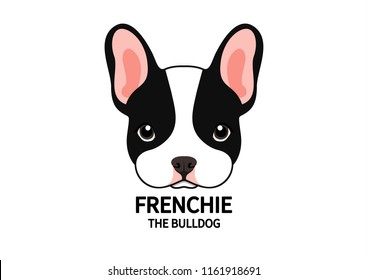 Adorable Full Color French Bulldog Face. Cute Frenchie with bunny ears in full color logo.