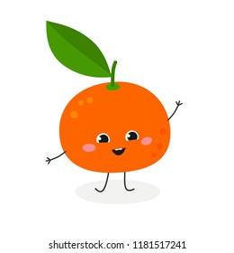 Adorable funny cartoon tangerine friendly waving hand Hi. Vector flat illustration isolated on white background