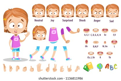 Adorable girl character constructor for animation and custom illustrations. Schoolgirl in pink shirt and blonde red hair. Character creation set with various views, face emotions, lip sync and poses