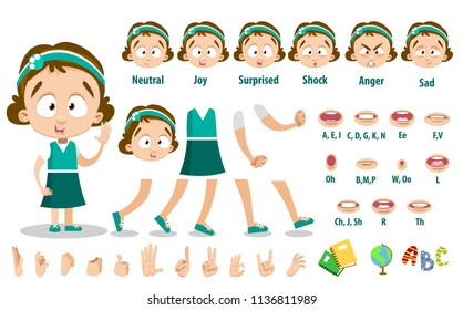 Adorable girl character constructor for animation and custom illustrations. Schoolgirl in green dress and dark hair. Character creation set with various views, face emotions, lip sync and poses